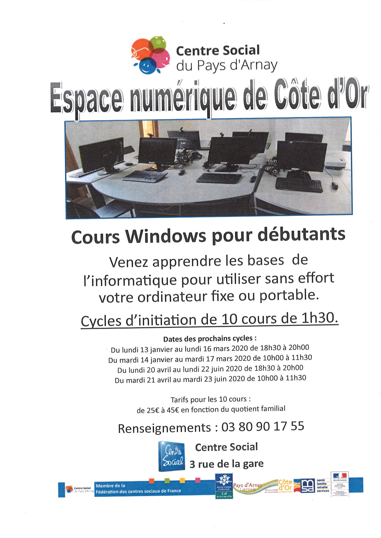 Ateliers pour débutants  -  Espace Numérique - Sati du Centre Social