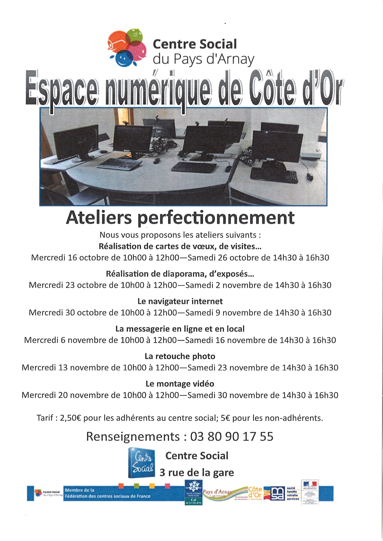 Ateliers perfectionnement  -  Espace Numérique - Sati du Centre Social